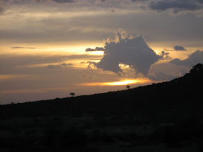 Photo: Sunset over the Masai Mara from our lodge (Hut)
