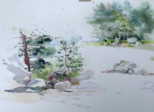stage aquarelle en plein air_Jeanne PAPA_ Fontainebleau.