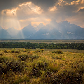 WICKED SKY by Jennifer  Loper  - Landscapes Sunsets & Sunrises ( sunbeams, mountains, grand teton, clouds, wyoming, sun )
