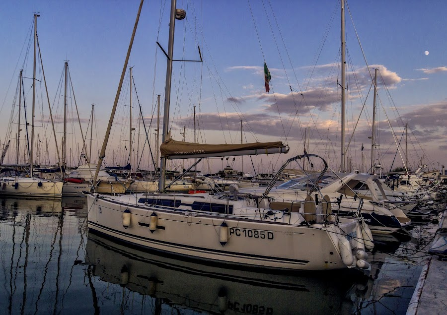 the waiting yacht by Enzo Di Paola - Transportation Boats ( water, seashore, waterscape, seascapes, boats, sea, seascape, waterscapes, boat, boating, sunset, sunrise, boats boating )