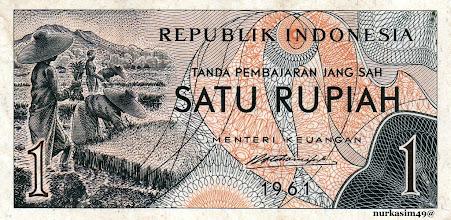 Photo: Uang kertas Rp 1 Republik Indonesia tahun 1961, setelah pemotongan nilai uang (senering) dari Rp 1000 menjadi Rp 1 pada tahun 1961. http://nurkasim49.blogspot.com/2011/12/v.html
