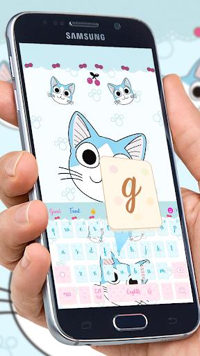 Download Cartoon blue cute kitty emoji theme keyboard on PC