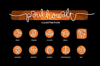 "Photo: Paul Howalt Illustrations - Custom Icon Designs ""Post, Phone, Clients, Email, Awards, Quotes, Merch, Downloads, Bio"""