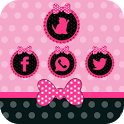 Pink cute girl bow theme love icon
