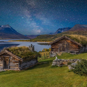 Autumn in by Grete Øiamo - Buildings & Architecture Other Exteriors ( milky way, milkyway, houses, fields, water, digital art )