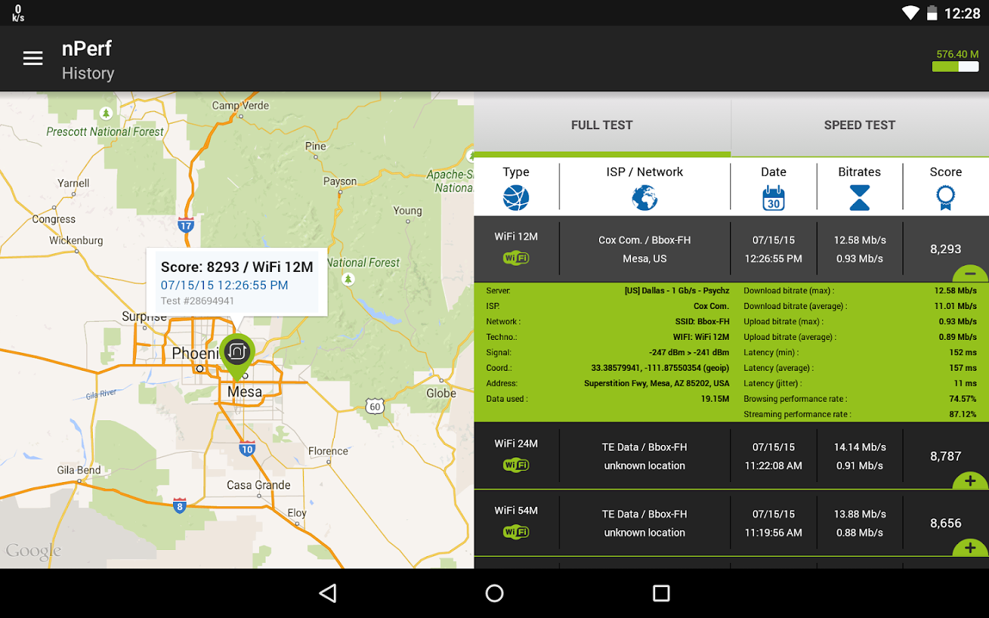 Speed test 3G, 4G LTE, WiFi & network coverage map- screenshot
