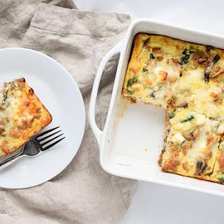 Spinach Feta Chicken Sausage Breakfast Casserole with Sweet Potato Crust.