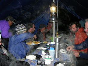 Photo: Evening in the dining tent in a small village above Tengboche (Dewoche)
