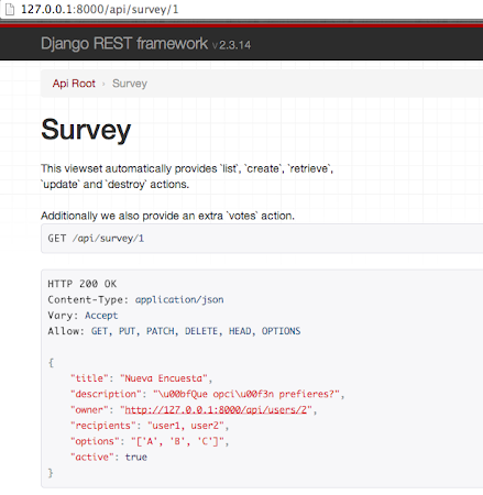 Django REST Framework survey detail example