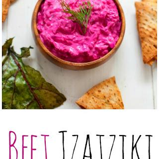 Beet Tzatziki with Beet Green Chips