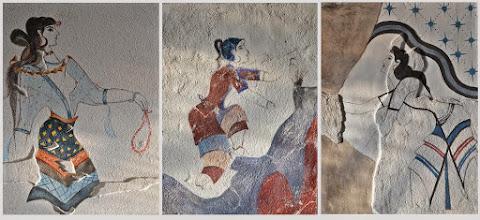 """Photo: Maria Anweiler """"Paryżanki - transpozycja fresków minojskich"""", fresk suchy"""