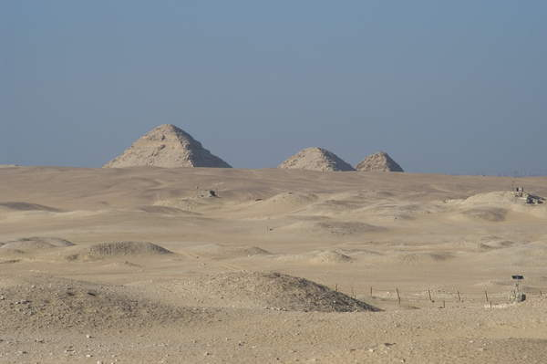 Image of Egypt. Necropolis of Saqqara. General view from the mastaba of Ti. In the background, three little pyramides © Tarker / Bridgeman Images