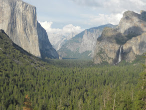 Photo: El Capitan on the left, Cloud's Rest and Half Dome in the distance, Bridal Veil Falls on the right.