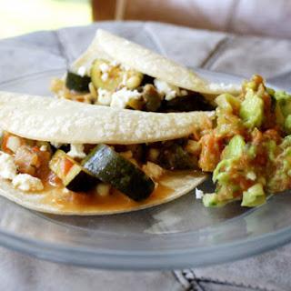 Zucchini Corn Tacos with Queso Fresco.