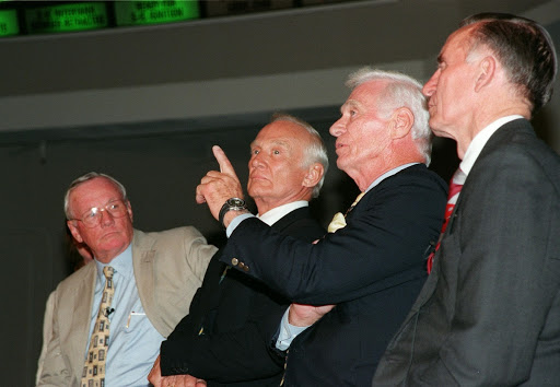 Former Apollo astronaut Gene Cernan makes a point in a comment for the press.