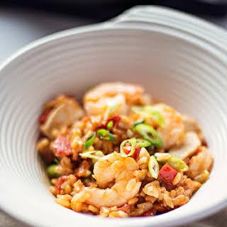Creole Shrimp, Chicken and Sausage Red Jambalaya.