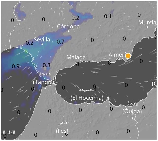 Previsión de precipitaciones en una situación de poniente (Foto: CAPTURA DE PANTALLA APP VENTUSKY).