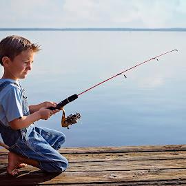 Fishing by Sabrina Causey - Babies & Children Children Candids ( fishing, boy, fishing pole, water, lake )