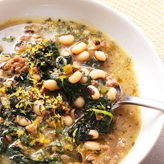 Easy Sausage, Kale, and Black-Eyed Pea Soup with Lemon and Rosemary Recipe