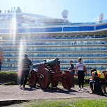 admiring a giant cruise liner in Oslo in Oslo, Oslo, Norway