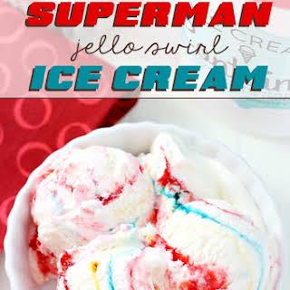 No-Churn Superman Jello Swirl Ice Cream.