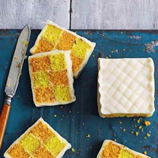 Orange and Lemon Battenberg Cake.