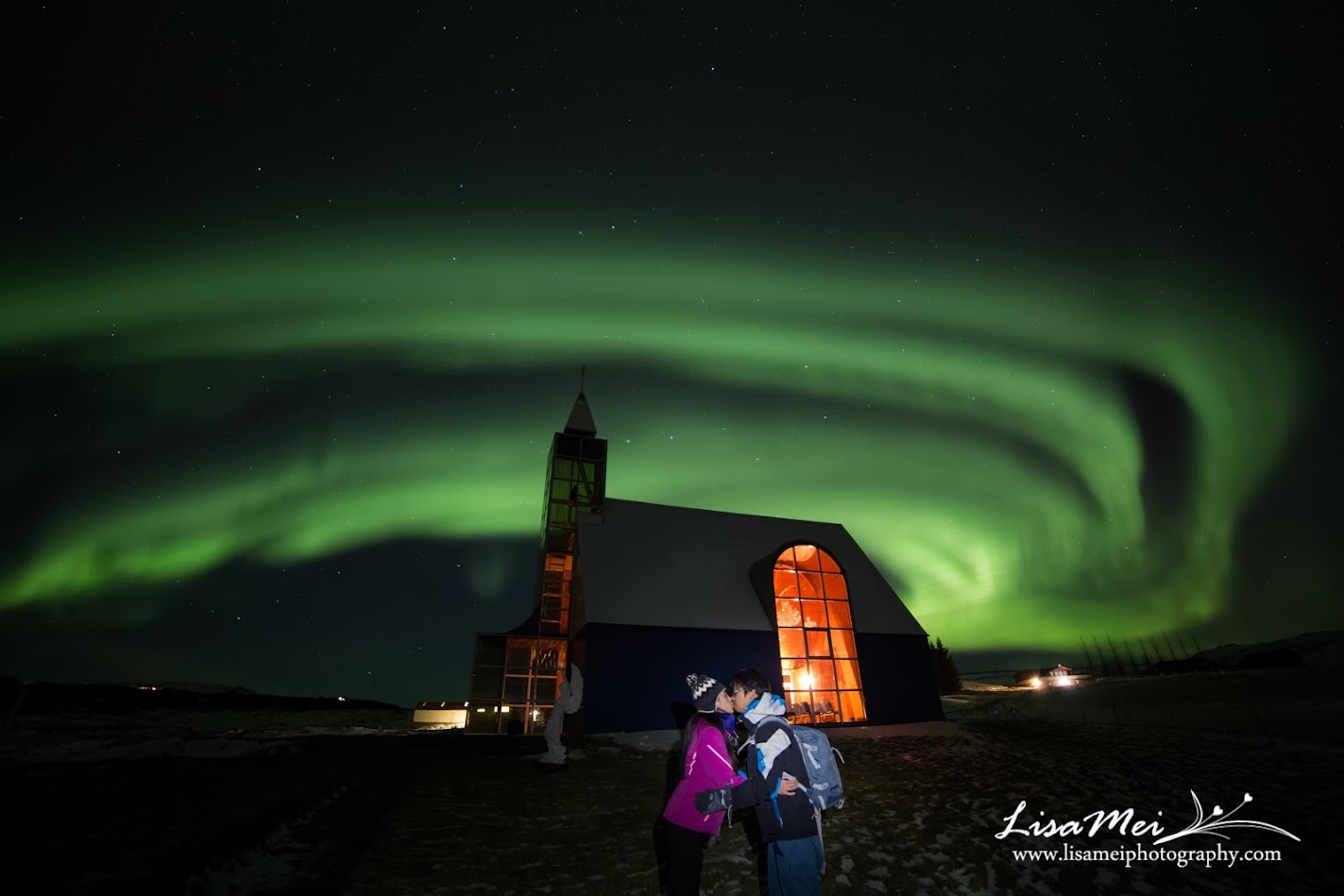 We had time for a photo of us and the Northern Lights <3