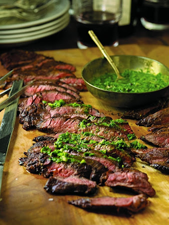 Grilled Skirt Steak with Roasted Jalapeño Chimichurri Recipe | Just A ...