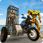 Sidecar Motorcycle Police Robot Transformation