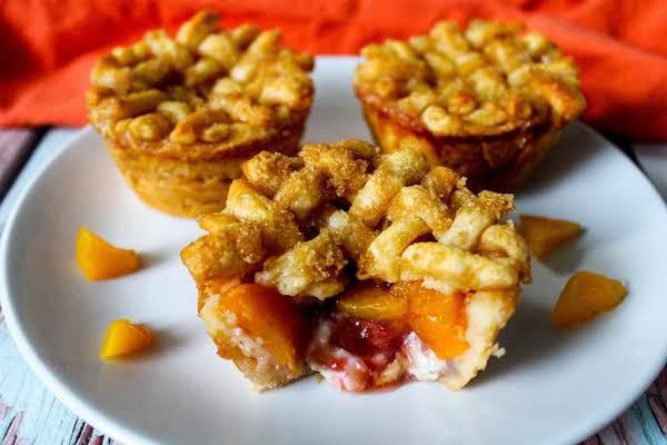 Gooey Inside Of A Strawberry Peach Pie.