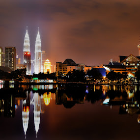 In The Middle Of Night by Azman Jaeh - City,  Street & Park  City Parks ( mirror, titiwangsa, landscapes, kuala lumpur, city, night )