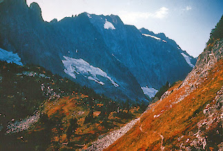 Photo: 25. Cascade Pass, in the heart of the scenic climax of the North Cascades, looking west. This pass is two miles from the end of the road, and is one of the most heavily used places in the entire North Cascades. There is a trail in the lower foreground.