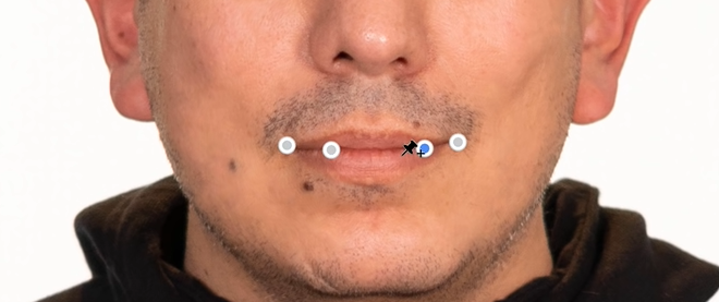 Now, you can click on the edges of the mouth and the inner line to create pins.