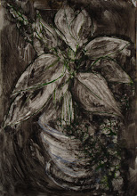 "Photo: 'House Plant, 3', 2nd draft, 21cm x  29cm, 8"" x 11.5"", 2012, Moleskine folio Sketchbook, oils."