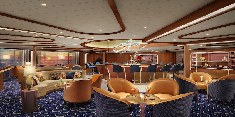 The plush Observation Lounge on the upcoming Seabourn Encore.