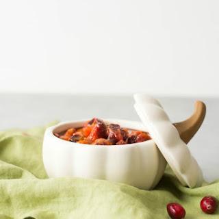 Kabocha Squash and Cranberry Saffron Chutney.