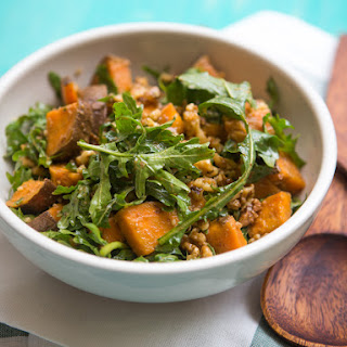 "Arugula, Sweet Potato, and Walnut Salad With Dashi ""Vinaigrette"""