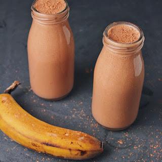 Vegan Chocolate Peanut Butter Banana Smoothie.