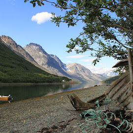 Lyngsalpene  by Monita Alstadsæter - Landscapes Mountains & Hills ( old boat, mountain s, waterscape, nature, lyngsalpene )