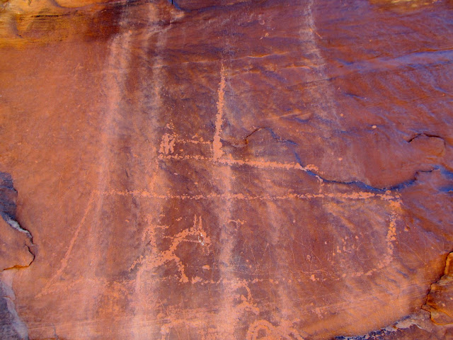 Horseman and boat petroglyphs