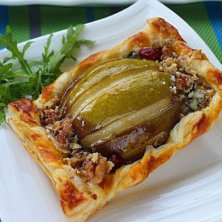 Amazing Butter Tarts with Honey Pears, Blue Cheese and Walnuts