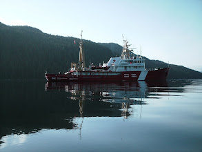 Photo: A Canadian Coast Guard boat at anchor in Coghlan Anchorage.