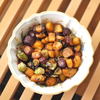 Miso-Roasted Brussels Sprouts and Root Veggies.