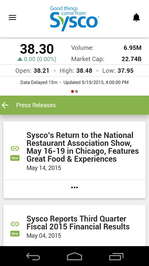Sysco IR- screenshot