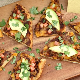 Black Bean Chorizo Flatbread Pizza.