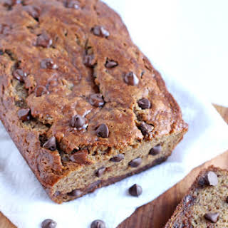 Healthy Banana Bread with Chocolate Chips.