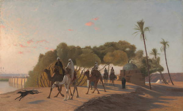 Image of Leaving the Oasis, 1880s (oil on wood panel), Gerome, Jean Leon (1824-1904) / French, Cleveland Museum of Art, OH, USA, 67.31x98.43 (framed) 50x81.2 (unframed) cms, © Gift of Mr. and Mrs. Noah L. Butkin / Bridgeman Images