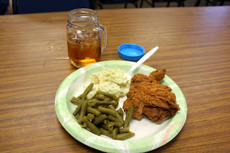 Photo: Randy & Libby brought fried chicken, potato salad, and string beans.  There was other stuff too.  Don S brought apple pie.