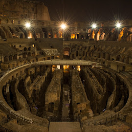 The Colosseum by Anand Lakshmi Kanthan - Buildings & Architecture Public & Historical ( europe, outdoor photography, travel, city, landmark, colosseum, ancient, landmarks, rome, outdoors, night, ruins, italy )