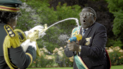 Actors pretending to be African leaders shoot at each other with water guns in an iconic Nandos advert.
